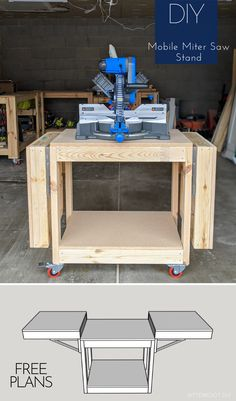 Free plans to build a DIY mobile miter saw stand for your workshop. Free up space in the shop and improve workflow with this DIY mobile miter saw stand. Diy Miter Saw Stand, Mitre Saw Stand, Miter Saw Table, Woodworking Projects That Sell, Woodworking Furniture, Diy Woodworking, Woodworking Equipment, Woodworking Workshop, Woodworking Chisels