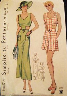 Simplicity 1776 | ca. 1936 Playsuit and Skirt