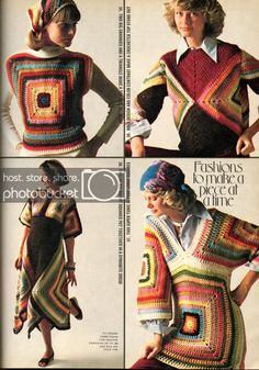 Anything Knitted and Crocheted: Family Circle-July 1975 ideas (image heavy) Granny Square Häkelanleitung, Granny Square Crochet Pattern, Crochet Squares, Crochet Granny, Crochet Patterns, Granny Squares, Mode Crochet, Diy Crochet, Crochet Top