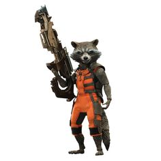 This Summer's Guardians of the Galaxy Rocket Raccoon Movie Masterpiece Series Sixth Scale Figure by Hot Toys.