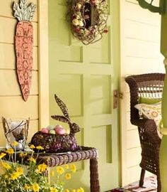 Oh my goodness I am loving the Easter decor from Pier 1 Imports  this year!  Some ideas for front doors and entryways:  go with natural ratt...