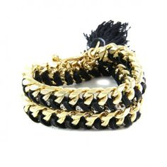 Ettika Black Leather Gold Chain Wrap Bracelet at aquaruby.com