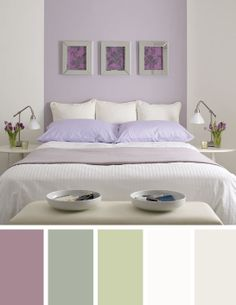 Purple and sage green bedroom colour scheme