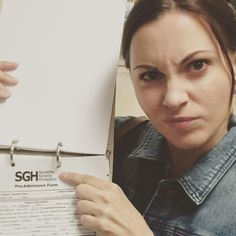 Jill Flint on set
