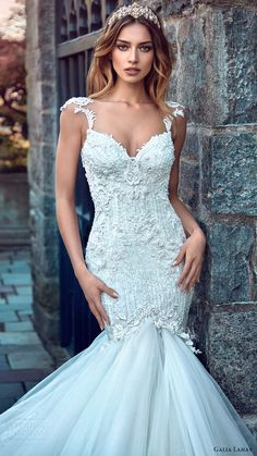 galia lahav bridal spring 2017 cap sleeves sweetheart mermaid wedding dress (ms elle) mv