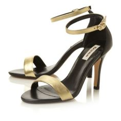HYDROGEN - Two Tone Ankle Strap Sandal by Dune London, available online  #dunelondon #sandals #sandal #dune #shoes #heels #heeled #highheels #metalllic #black #gold #fashion #style #party #aw13