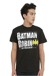 cb465e3c1e4d32 Black T-shirt from DC Comics Batman  amp  Robin For President from Hot Topic
