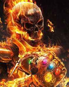 Ghost Rider con el guantelete del infinito(Ghost Rider with the Infinity Gauntlet) Marvel Characters, Marvel Heroes, Marvel Avengers, Captain Marvel, Ghost Rider Wallpaper, Marvel Wallpaper, Marvel Fanart, Harley Queen, Ghost Rider Marvel