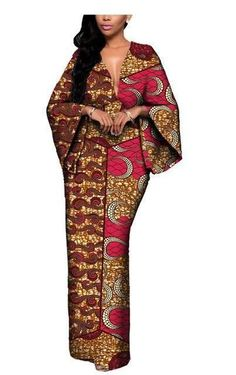 African Style 712905815988471188 - African Batik Flare Sleeve V-Neck Dress Source by sleekafrica African Fashion Ankara, Latest African Fashion Dresses, African Print Fashion, Africa Fashion, Ethnic Fashion, Look Fashion, Fashion Ideas, African American Fashion, African Style
