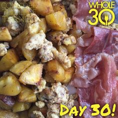 """""""We've hit a milestone - Day 30! For brunch, I had scrambled eggs with semi sweet plantains and two slices of prosciutto. I would be lying if I didn't say I kind of want something off plan and if I was doing a regular whole30 like in the past, I would probably order some Thai food tomorrow. But this is EXACTLY why I know I need to stay on plan and stay committed to this Whole100. I don't want to negate the positive changes going on and I can't wait to see what my results will be like 70 days…"""