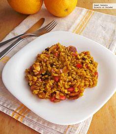 arroz integral con granada, almendras y pasas