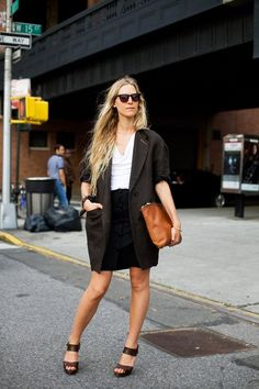 I like the idea of a long blazer and a mini-skirt.  She tops the whole look off with great shoes!  Jessica de Ruiter