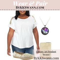 Wear your Fantasy Art Pendants by KK Swann casually & formally! How do you #WearandPair? Shop Fantasy Art Pendants at bykkswann.com/shop/