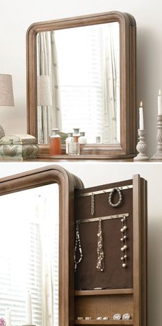 Such a genius idea! Jewelry storage behind your mirror! Right where you need it and a great hiding spot from burglars. Condo Living, Apartment Living, Home Organization, Organizing, Dresser Mirror, Jewelry Storage, Ox, My Dream Home, Home Accents