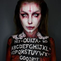 """Ouija Board Demon☠️ Inspired by @blackmilkclothing new Halloween collection! And @michael_hussar ❤️Using @mehronmakeup Paradise Paints and Bruise Wheel! And wearing @camoeyes contacts (Code """"ellie35x"""" for 10% Off) ☠️❤️"""