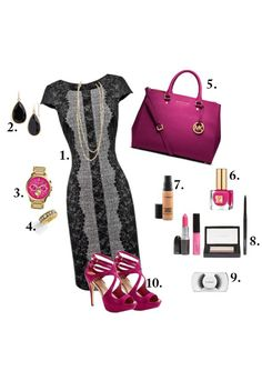 Black Lace & Pink outfit, love it!!!