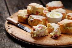 Try this mouth-watering Rhubarb Tea Biscuit recipe! Rhubarb Tea, Rhubarb Scones, Rhubarb Desserts, Rhubarb Recipes, Top Recipes, Baking Recipes, Bread Recipes, Sweet Recipes, Tea Biscuits