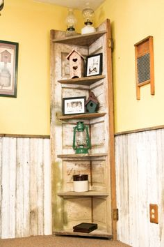 Ideas For Old Wooden Doors | old door made into a rustic corner shelf for my kitchen. recycling old ...