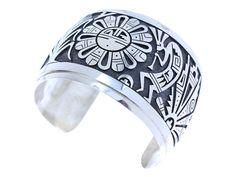 Berra Tawahongya, Hopi Silver Overlay Bracelet, Sunface Design, Signed - $1,840.00