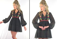 Vintage 60's 70's HIPPIE MINI DRESS Rainbow Embroidery Boho Blouson Slv. Xs