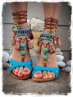 Pocahontas barfuss Sandalen Tribal Quaste Fringe Sandale bunte Foto-Shooting Requisiten Native Fuss Schmuck Böhmische Strand Woodland Hochzeit GPyoga