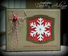 Christmas card ... kraft with white, red & green ... die cut layered snowflake on Spellbinders label die cut ... red & white baker's twine with a bell ... luv the look of this card!!