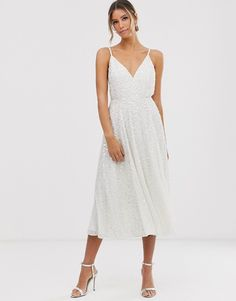 Browse online for the newest ASOS EDITION embellished cami midi wedding dress styles. Shop easier with ASOS' multiple payments and return options (Ts&Cs apply). Asos Wedding Dress, Tea Length Wedding Dress, Wedding Dress Trends, Wedding Dress Sizes, White Wedding Dresses, Reception Dresses, Wedding Reception, Wedding Shower Dresses, Short Dress Wedding
