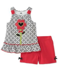 Kids Headquarters Baby Girls' Flower Shirt & Solid Shorts Set