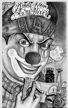 Smile now cry never:) Joker Kunst, Chicano Art Tattoos, Chicano Love, Cholo Art, Prison Art, Lowrider Art, Pin Up, Bild Tattoos, Joker Art