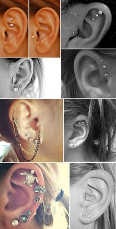 Piercing na orelha - Ricota Não Derrete The cluster of three on the flat of the war is gorgeous! Piercing No Lóbulo, Piercing Implant, Ear Peircings, Ear Piercings Tragus, Cute Ear Piercings, Tattoo Und Piercing, Smiley Piercing, Body Piercings, Tongue Piercings