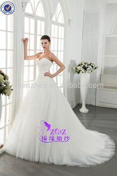 R12 Simple Design Satin Tulle Fabric Appliqued Beaded Pleats A line Zipper Back Sweetheart Wedding Dress 2015