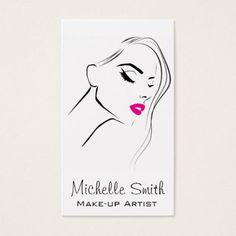 Lovely pink lips make up artist business card - diy individual customized design unique ideas