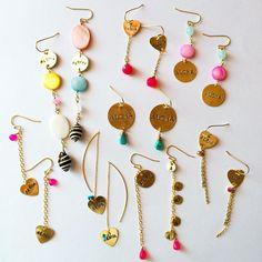 ピアス Trendy Accessories, Handmade Accessories, Handcrafted Jewelry, Earrings Handmade, Jewelry Accessories, Simple Earrings, Simple Jewelry, Bead Earrings, Clay Jewelry