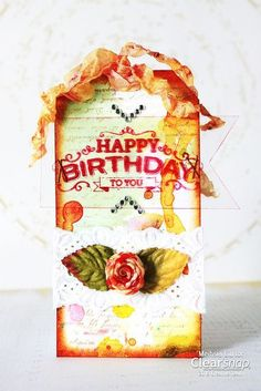 Meihsia shares a mixed media birthday tag featuring the fun ColorBox Surfacez inks and Izink.| Clearsnp Blog
