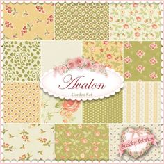 Avalon Garden 14 FQ Set by Fig Tree for Moda Fabrics: Avalon is a vintage-inspired collection by Fig Tree for Moda Fabrics. This set contains 14 fat quarters, each measuring approximately x Fabric Patterns, Color Patterns, Pattern Designs, Explorer, Fig Tree, Quilting Fabric, Fabric Shop, Fat Quarters, Fabric Swatches