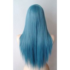 Dark Teal Blue wig. Long straight layered hair long side bangs Heat... (115 CAD) ❤ liked on Polyvore