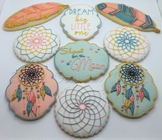 Dream catcher themed baby shower or birthday cookies.