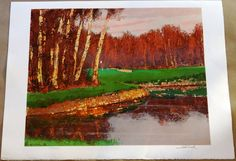 Saburo Shimada Art Eagle Albatross Condor avid golfer gift original signed lithograph fairway green hole in one golf course Golf Gifts For Men, Gifts For Golfers, Galerie D'art En Ligne, Colorful Trees, Flowers Perennials, Indian Summer, Japanese Artists, French Artists, Cool Artwork