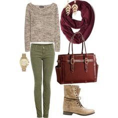 Perfect fall outfit ~ grey sweater, scarlet scarf, army green pants and boots