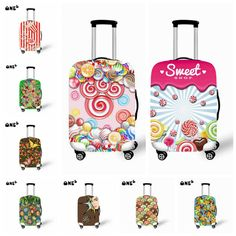 Cute 3D Vintage Nautical Ship Anchor Pattern Luggage Protector Travel Luggage Cover Trolley Case Protective Cover Fits 18-32 Inch