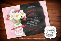 Mason Jar, Floral, Barn Wood and Watercolor Bridal Shower Invitation with ribbon