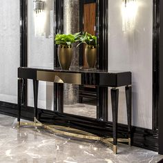 A chic design console table created in black lacquered wood and steel. See our full range of designer chic console tables. Furniture, Gold Furniture, Home Decor Styles, Black Console Table, Steel Console Table, Luxury Furniture, Table, Home Decor, Modern Console Tables