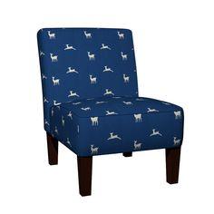 Maran Slipper Chair featuring Deer 2 - ocean cream by drapestudio | Roostery Home Decor