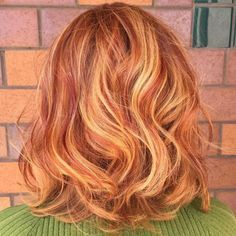 Auburn Lob With Strawberry Blonde Highlights More