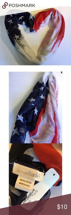 NWT Charming Charlie American Flag Scarf 🇺🇸 New with tags. I bought to wear for 4th of July last year. Please feel free to ask any questions or send me reasonable offers. Thank you! Charming Charlie Accessories Scarves & Wraps