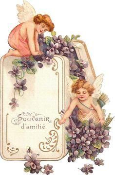 """""""Souvenir d'amitié"""" ~ Vintage angels with forget-me-nots"""