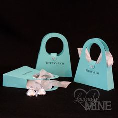 Tiffany & Co Inspired Purse Shaped Favor Bags - Tiffany Blue