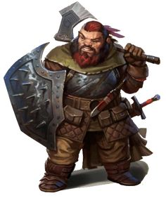Dwarf warrior with axe, sword, and a spiked shield