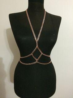 6df5b035b86 Copper body chain, rose body harnes, body necklace, festival jewelry, waist  chain,body jewelry,a*101