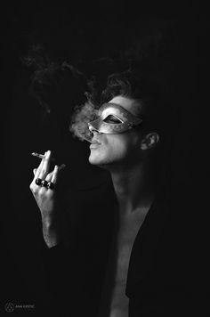 Ana Krstic Photography #zoro #mask #smoke #cigarette #model #male #fashion #urban #hipster #world #Blackandwhite